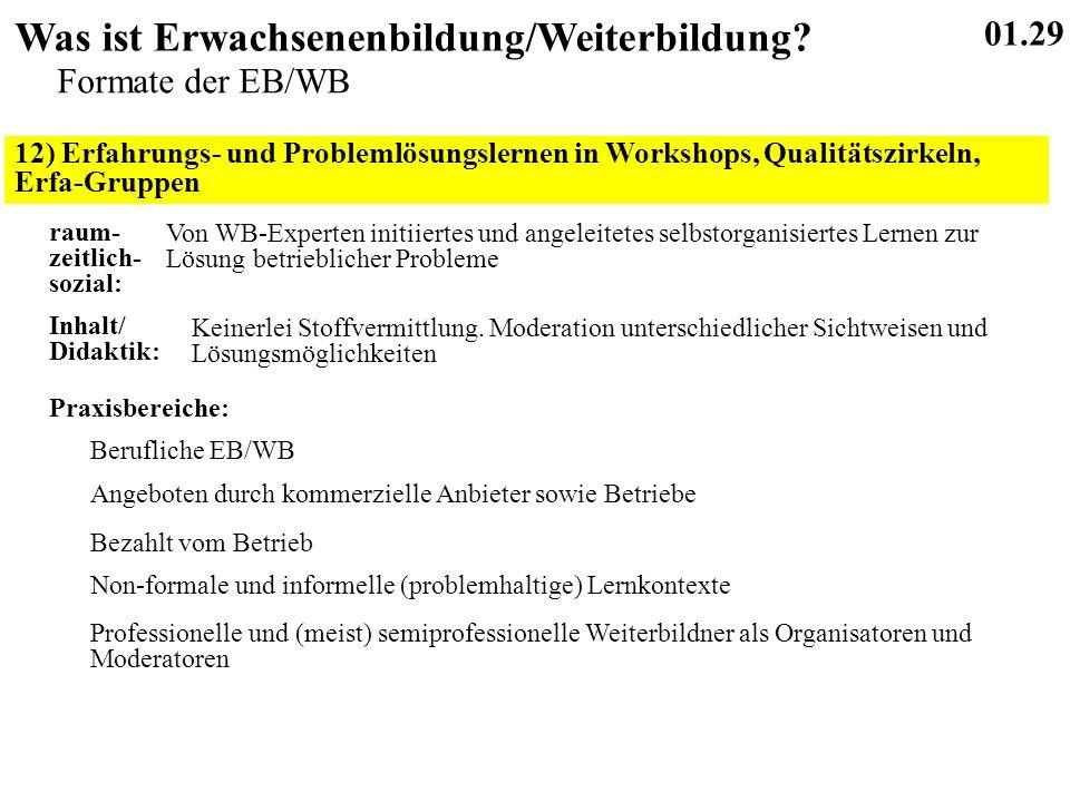 12) Erfahrungs- und Problemlösungslernen in Workshops, Qualitätszirkeln, Erfa-Gruppen 01.29 Was ist Erwachsenenbildung/Weiterbildung.