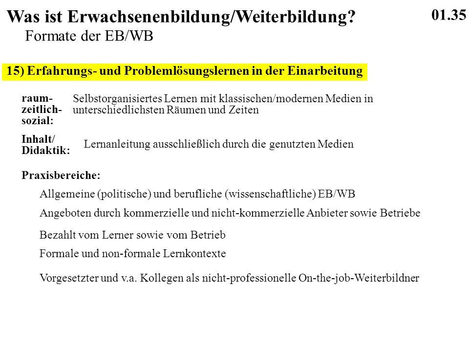 15) Erfahrungs- und Problemlösungslernen in der Einarbeitung 01.35 Was ist Erwachsenenbildung/Weiterbildung.