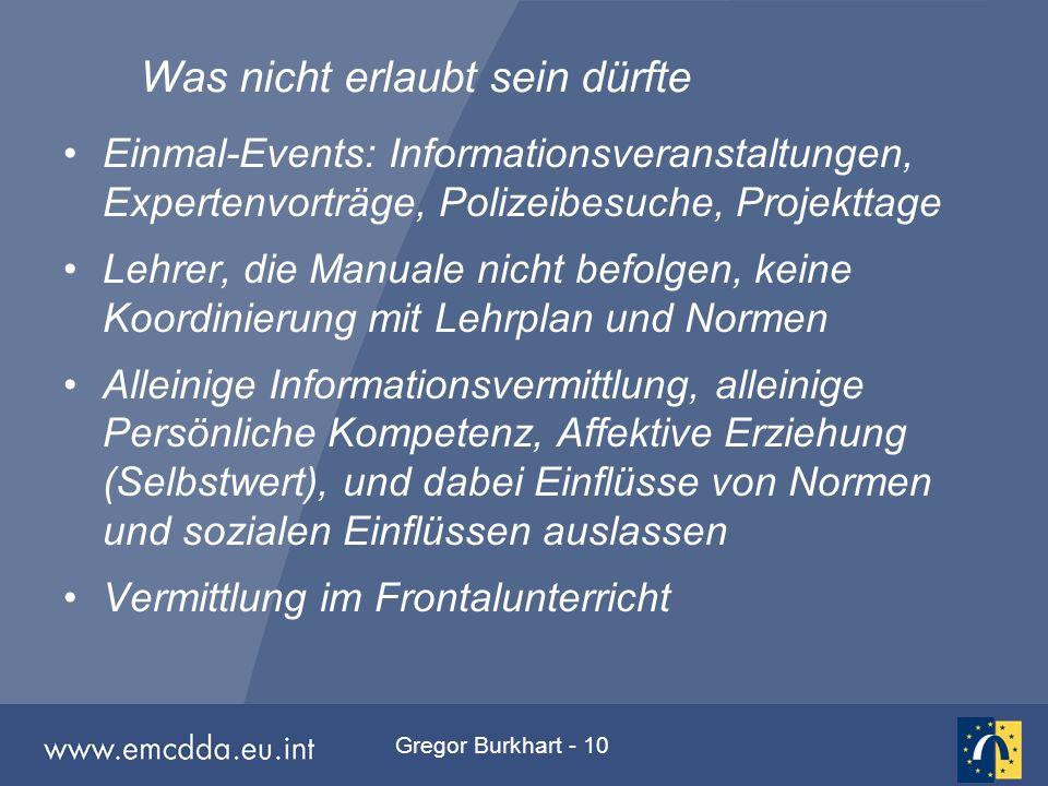 Gregor Burkhart - 10 Was nicht erlaubt sein dürfte Einmal-Events: Informationsveranstaltungen, Expertenvorträge, Polizeibesuche, Projekttage Lehrer, d