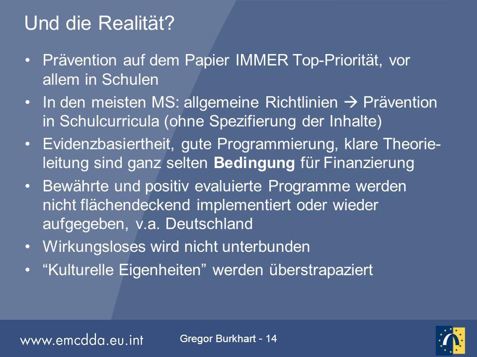 Gregor Burkhart - 14 Und die Realität? Prävention auf dem Papier IMMER Top-Priorität, vor allem in Schulen In den meisten MS: allgemeine Richtlinien 