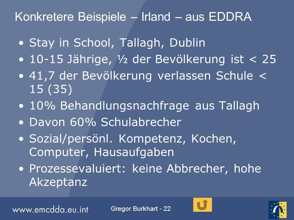 Gregor Burkhart - 22 Konkretere Beispiele – Irland – aus EDDRA Stay in School, Tallagh, Dublin 10-15 Jährige, ½ der Bevölkerung ist < 25 41,7 der Bevö