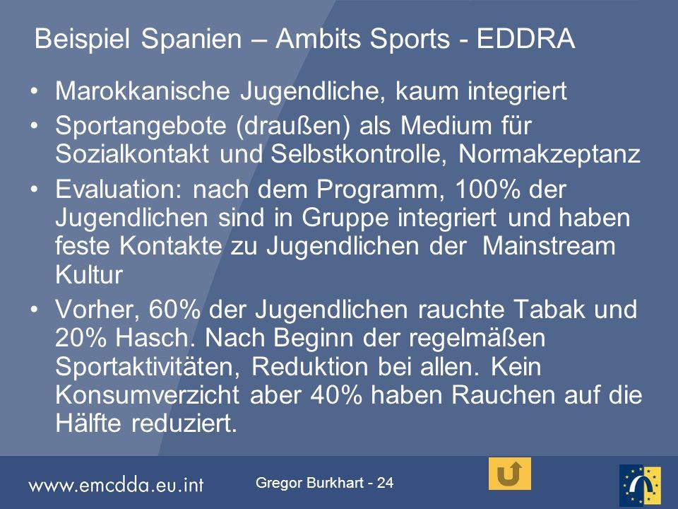 Gregor Burkhart - 24 Beispiel Spanien – Ambits Sports - EDDRA Marokkanische Jugendliche, kaum integriert Sportangebote (draußen) als Medium für Sozial