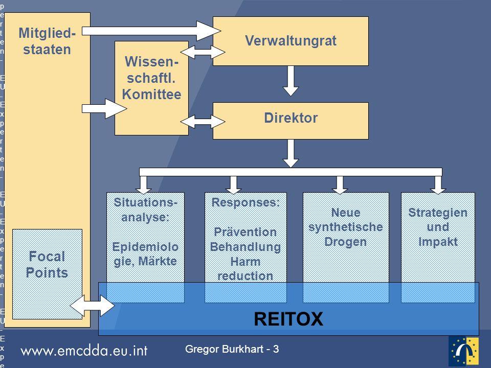Gregor Burkhart - 3 Mitglied- staaten Situations- analyse: Epidemiolo gie, Märkte Responses: Prävention Behandlung Harm reduction Neue synthetische Dr