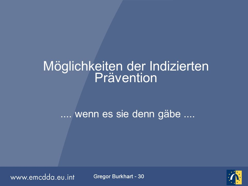 Gregor Burkhart - 30 Möglichkeiten der Indizierten Prävention.... wenn es sie denn gäbe....