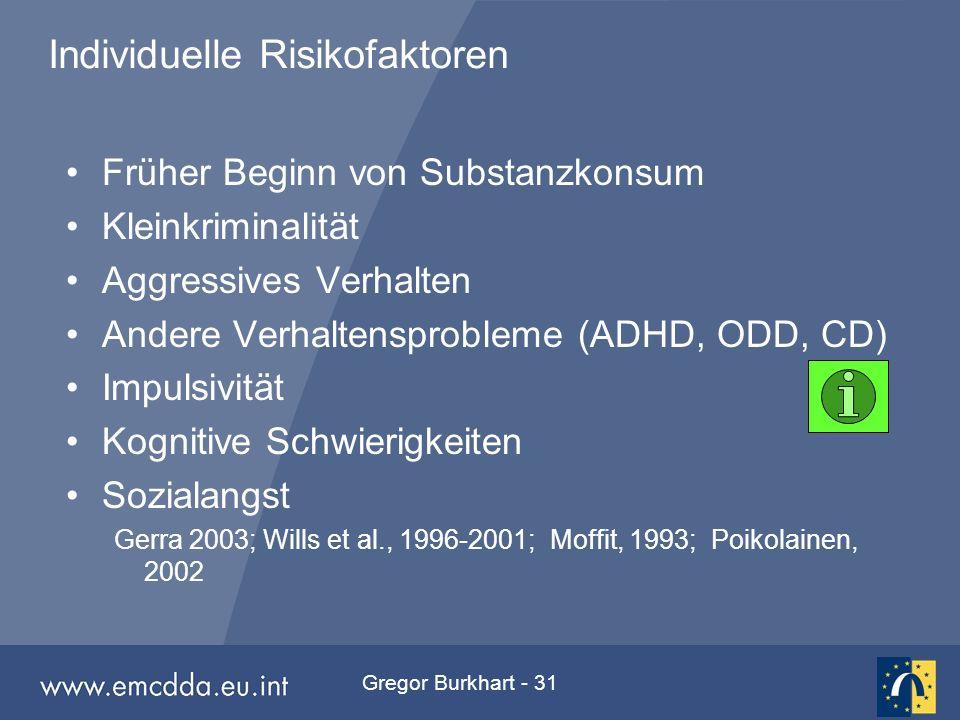 Gregor Burkhart - 31 Individuelle Risikofaktoren Früher Beginn von Substanzkonsum Kleinkriminalität Aggressives Verhalten Andere Verhaltensprobleme (A