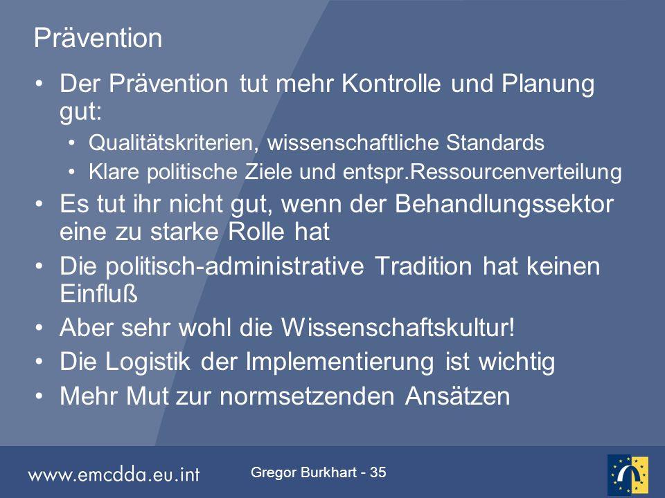 Gregor Burkhart - 35 Prävention Der Prävention tut mehr Kontrolle und Planung gut: Qualitätskriterien, wissenschaftliche Standards Klare politische Zi