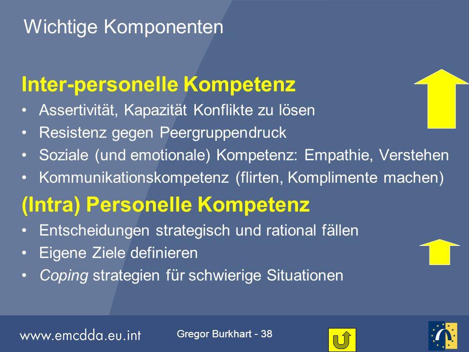 Gregor Burkhart - 38 Wichtige Komponenten Inter-personelle Kompetenz Assertivität, Kapazität Konflikte zu lösen Resistenz gegen Peergruppendruck Sozia
