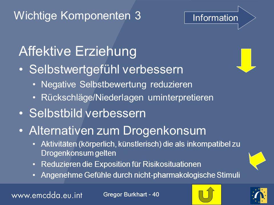 Gregor Burkhart - 40 Wichtige Komponenten 3 Affektive Erziehung Selbstwertgefühl verbessern Negative Selbstbewertung reduzieren Rückschläge/Niederlage