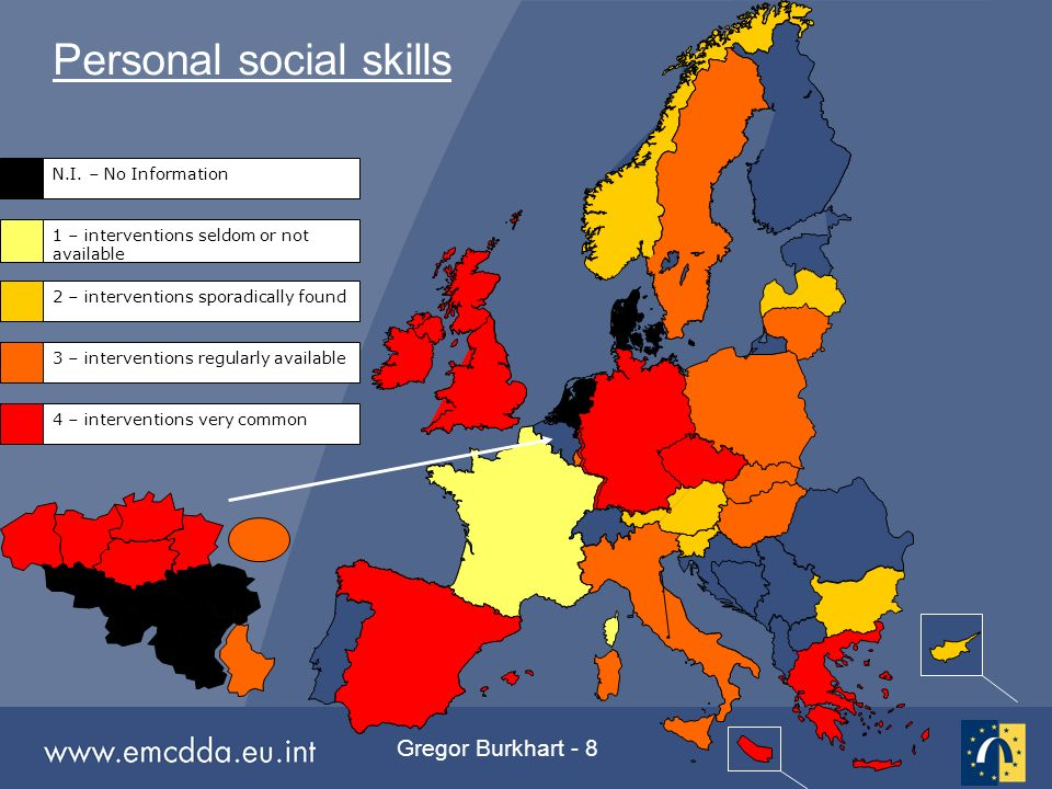 Gregor Burkhart - 8 Personal social skills 1 – interventions seldom or not available 2 – interventions sporadically found 3 – interventions regularly available 4 – interventions very common N.I.