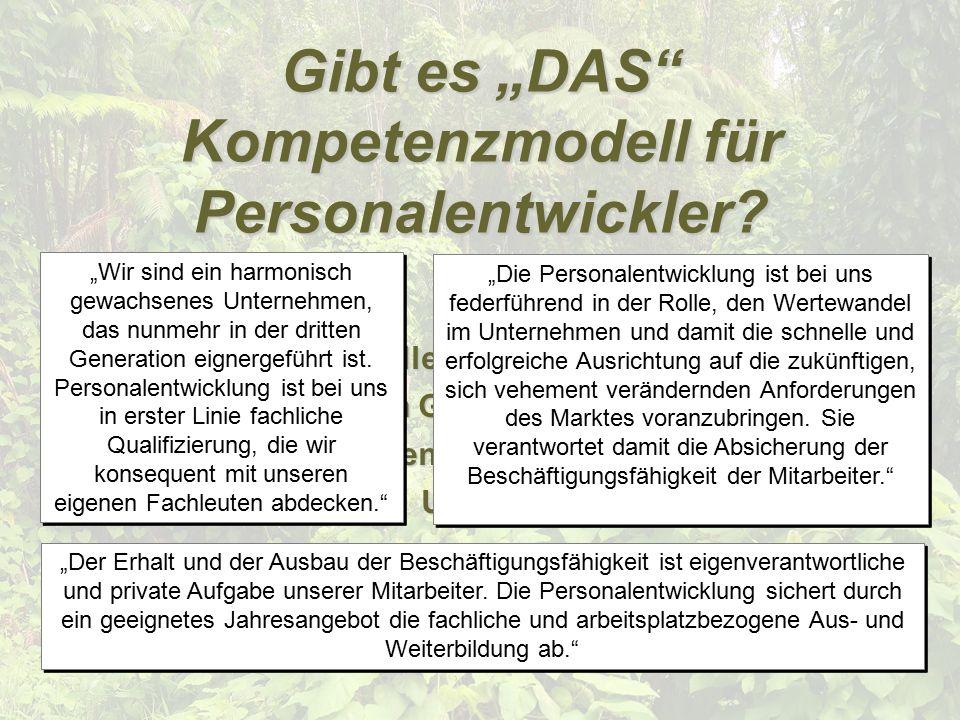 """© vbc 2005 Gibt es """"DAS Kompetenzmodell für Personalentwickler."""