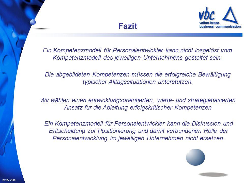 © vbc 2005 Fazit Ein Kompetenzmodell für Personalentwickler kann nicht losgelöst vom Kompetenzmodell des jeweiligen Unternehmens gestaltet sein.