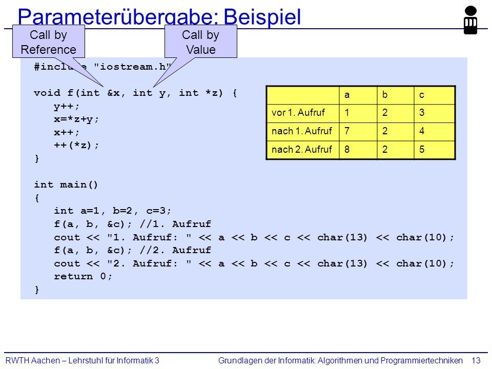 Grundlagen der Informatik: Algorithmen und ProgrammiertechnikenRWTH Aachen – Lehrstuhl für Informatik 313 #include