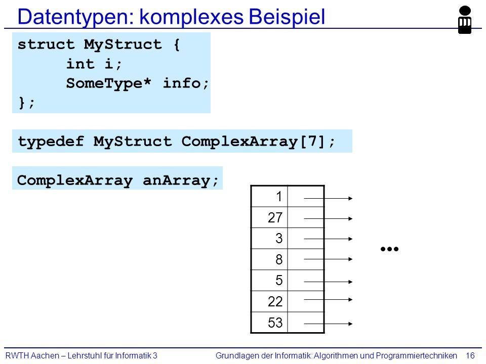 Grundlagen der Informatik: Algorithmen und ProgrammiertechnikenRWTH Aachen – Lehrstuhl für Informatik 316 Datentypen: komplexes Beispiel struct MyStru