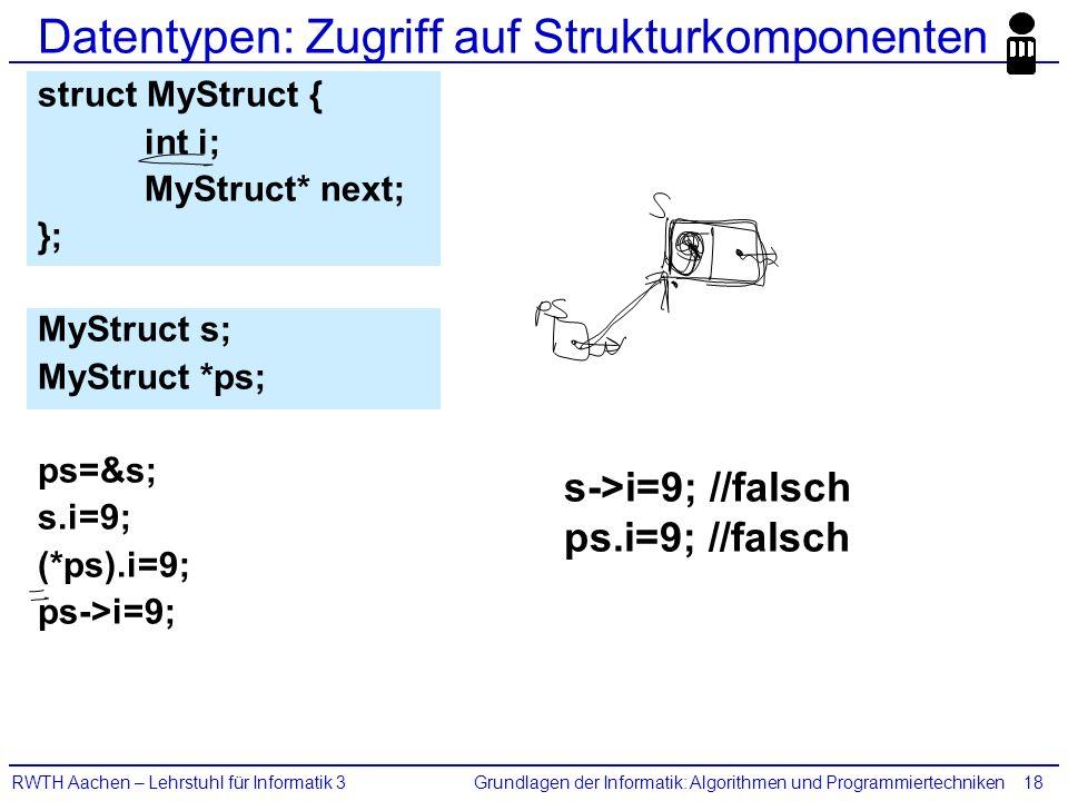 Grundlagen der Informatik: Algorithmen und ProgrammiertechnikenRWTH Aachen – Lehrstuhl für Informatik 318 Datentypen: Zugriff auf Strukturkomponenten