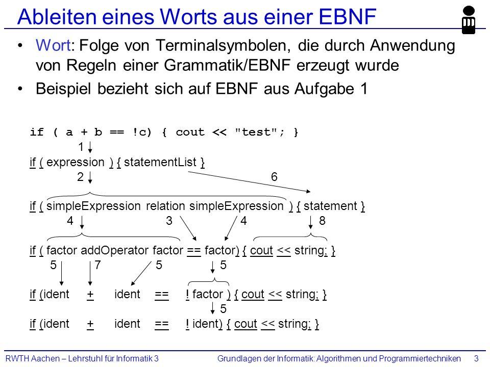 Grundlagen der Informatik: Algorithmen und ProgrammiertechnikenRWTH Aachen – Lehrstuhl für Informatik 33 Ableiten eines Worts aus einer EBNF Wort: Fol