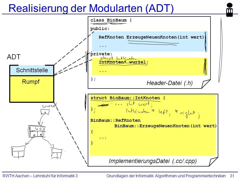 Grundlagen der Informatik: Algorithmen und ProgrammiertechnikenRWTH Aachen – Lehrstuhl für Informatik 331 Realisierung der Modularten (ADT) Rumpf Schn