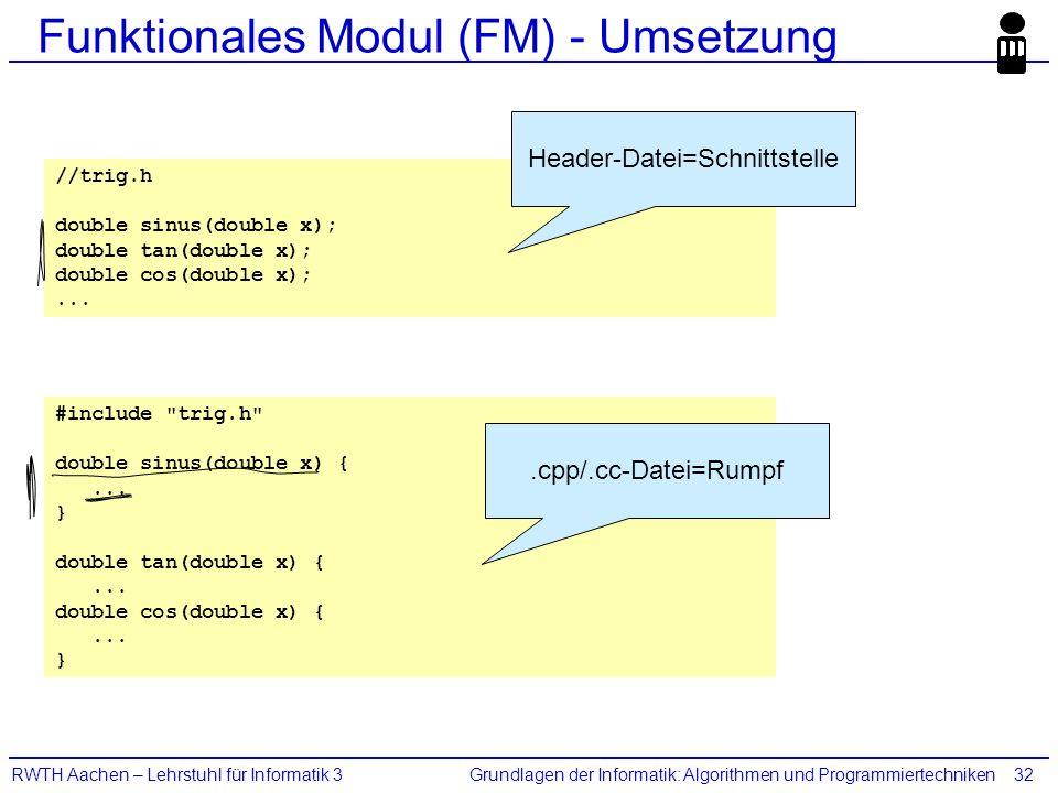 Grundlagen der Informatik: Algorithmen und ProgrammiertechnikenRWTH Aachen – Lehrstuhl für Informatik 332 Funktionales Modul (FM) - Umsetzung //trig.h