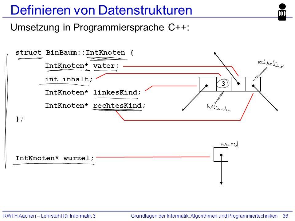 Grundlagen der Informatik: Algorithmen und ProgrammiertechnikenRWTH Aachen – Lehrstuhl für Informatik 336 Definieren von Datenstrukturen Umsetzung in