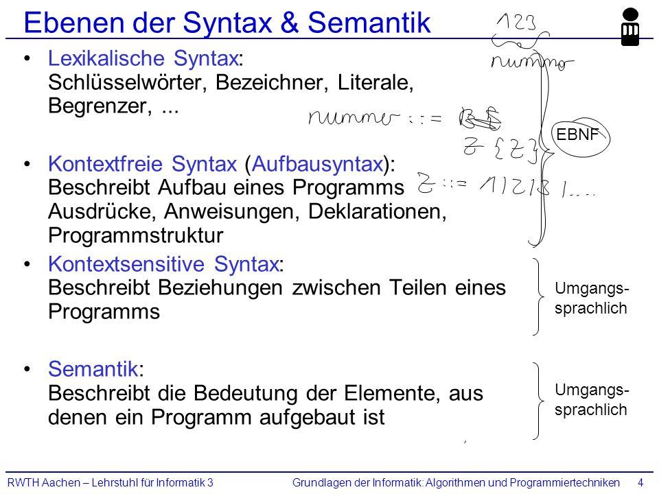 Grundlagen der Informatik: Algorithmen und ProgrammiertechnikenRWTH Aachen – Lehrstuhl für Informatik 34 Ebenen der Syntax & Semantik Lexikalische Syn