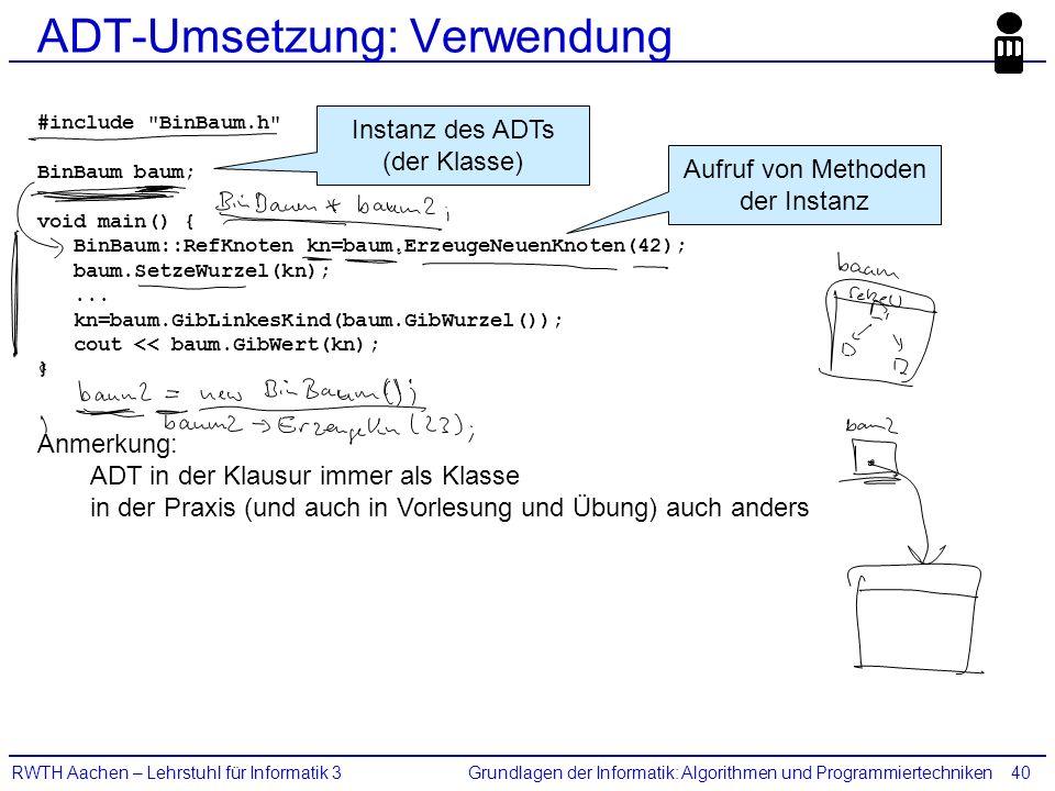 Grundlagen der Informatik: Algorithmen und ProgrammiertechnikenRWTH Aachen – Lehrstuhl für Informatik 340 ADT-Umsetzung: Verwendung #include