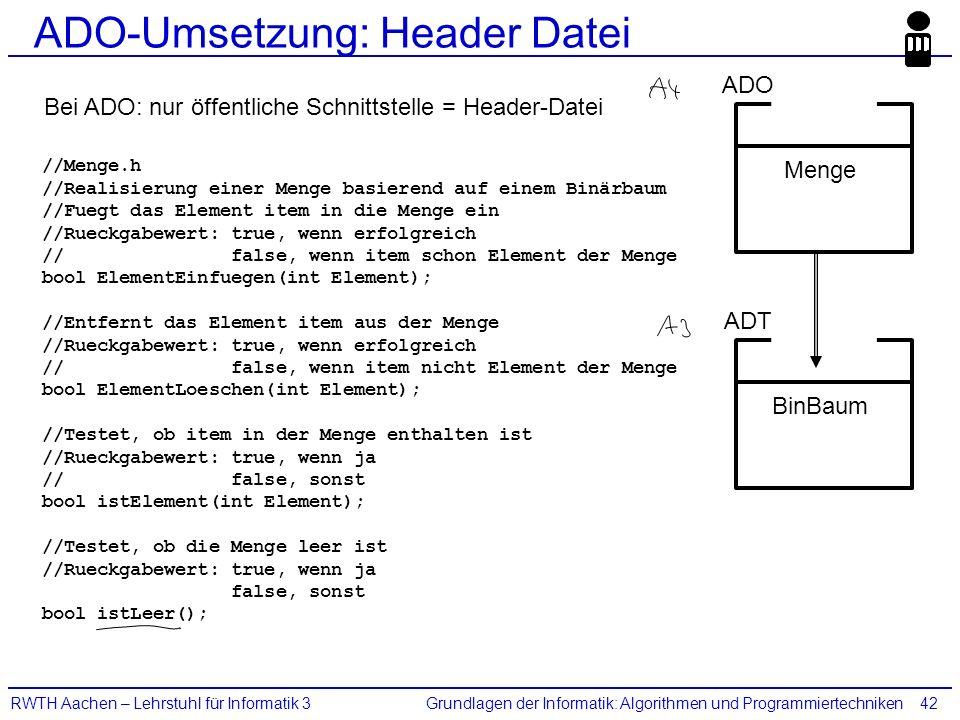 Grundlagen der Informatik: Algorithmen und ProgrammiertechnikenRWTH Aachen – Lehrstuhl für Informatik 342 ADO-Umsetzung: Header Datei //Menge.h //Real