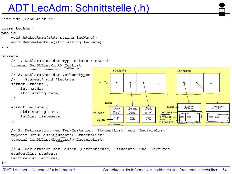 """Grundlagen der Informatik: Algorithmen und ProgrammiertechnikenRWTH Aachen – Lehrstuhl für Informatik 354 ADT LecAdm: Schnittstelle (.h) #include """"Gen"""