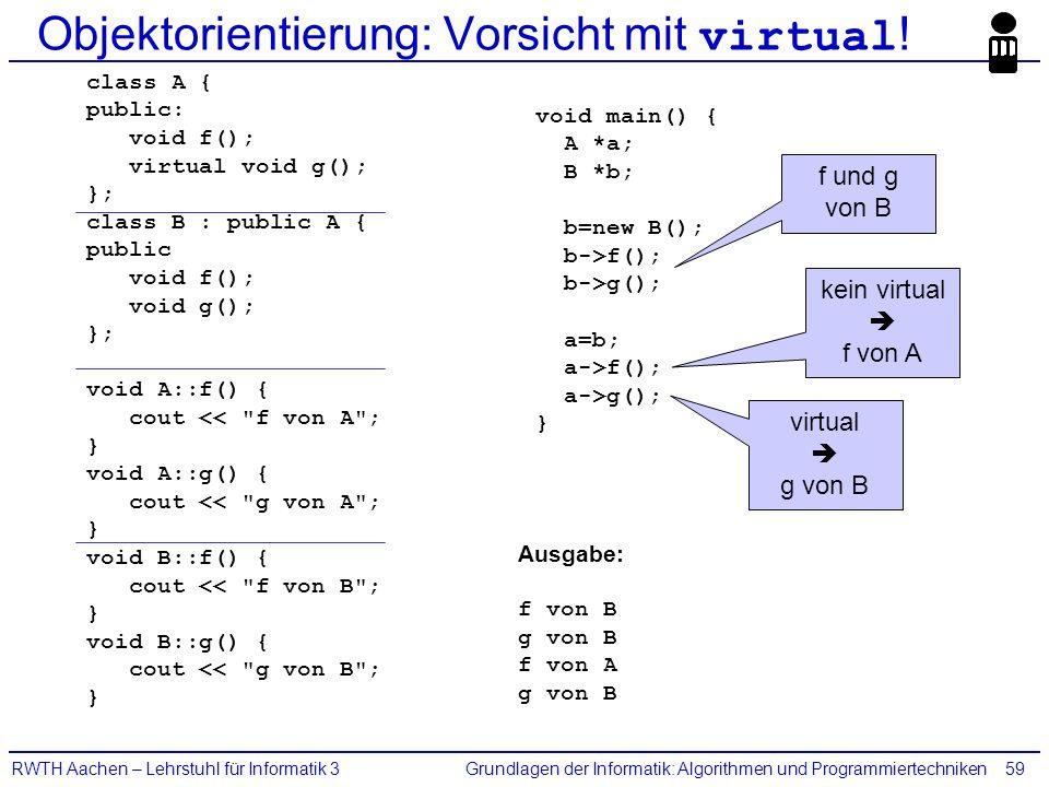 Grundlagen der Informatik: Algorithmen und ProgrammiertechnikenRWTH Aachen – Lehrstuhl für Informatik 359 Objektorientierung: Vorsicht mit virtual ! c