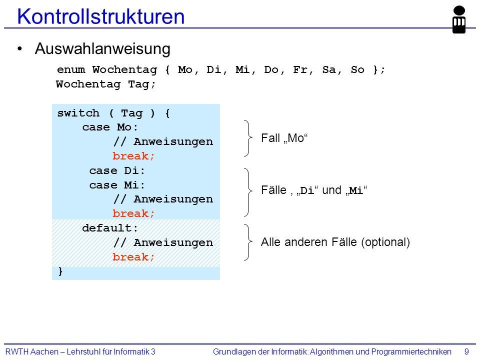 Grundlagen der Informatik: Algorithmen und ProgrammiertechnikenRWTH Aachen – Lehrstuhl für Informatik 39 Kontrollstrukturen Auswahlanweisung enum Woch