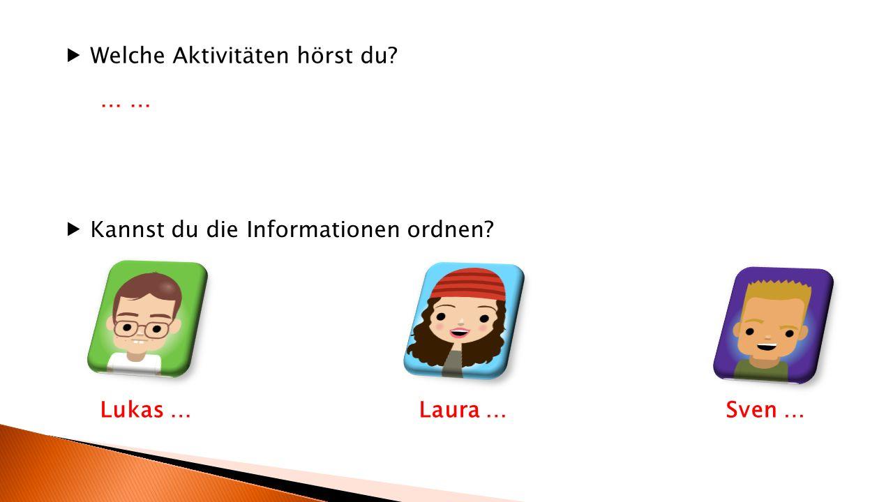  Welche Aktivitäten hörst du?  Kannst du die Informationen ordnen? Lukas …Laura …Sven … …