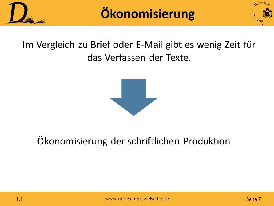 Seite 7 www.deutsch-ist-vielseitig.de 1.1 Ökonomisierung Im Vergleich zu Brief oder E-Mail gibt es wenig Zeit für das Verfassen der Texte. Ökonomisier