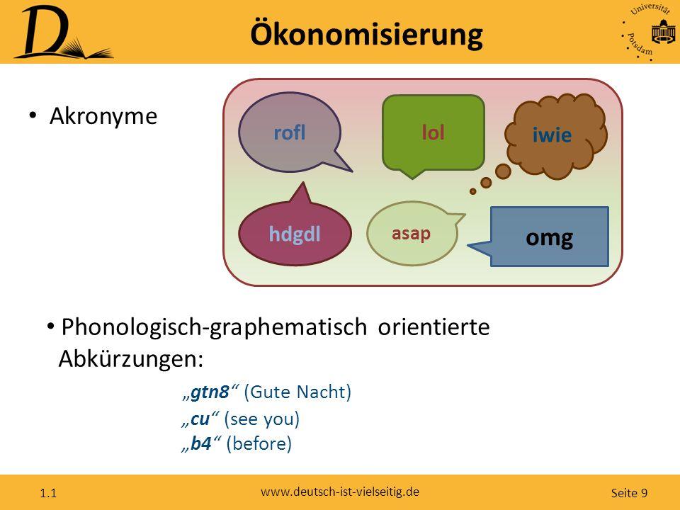 """Seite 9 www.deutsch-ist-vielseitig.de 1.1 Ökonomisierung Akronyme asap rofl hdgdl lol omg iwie Phonologisch-graphematisch orientierte Abkürzungen: """"gt"""