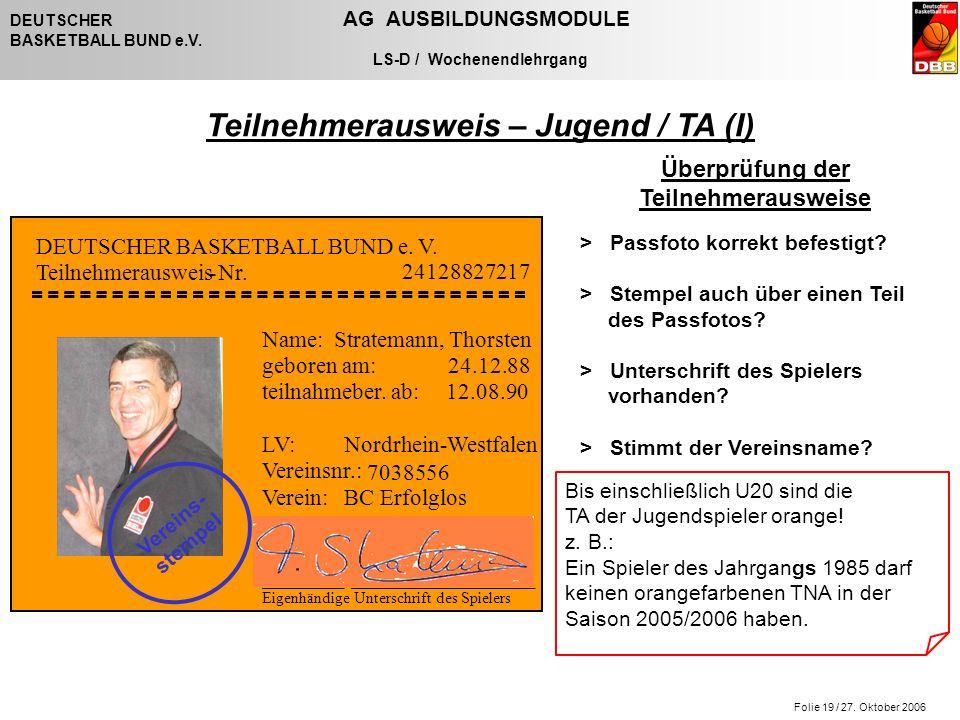 Folie 19 / 27. Oktober 2006 DEUTSCHER AG AUSBILDUNGSMODULE BASKETBALL BUND e.V. LS-D / Wochenendlehrgang Teilnehmerausweis – Jugend / TA (I) Bis einsc