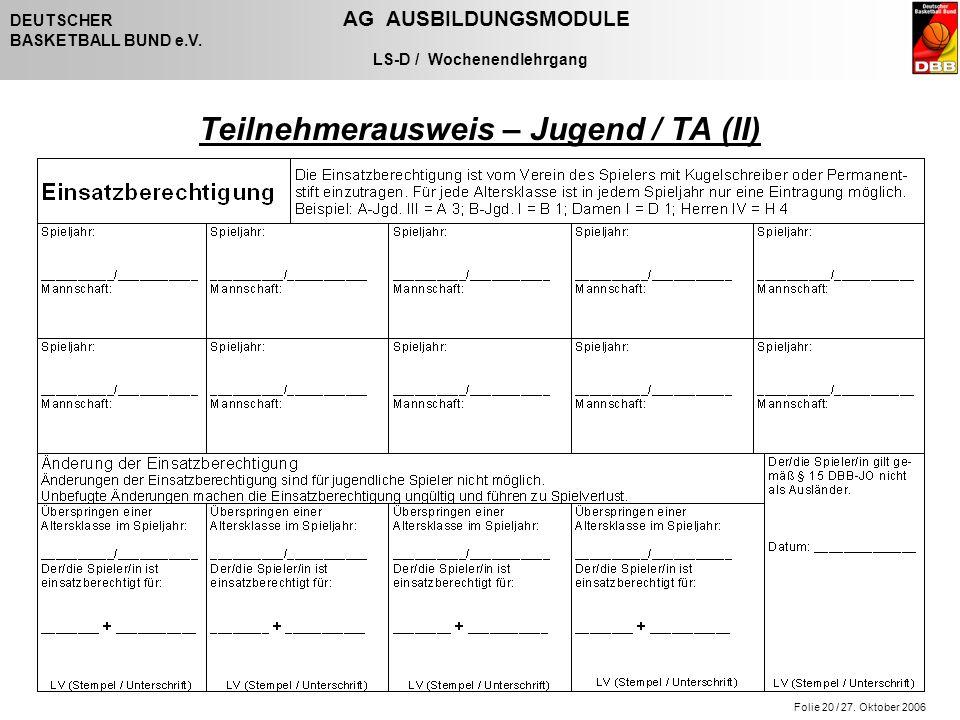 Folie 20 / 27. Oktober 2006 DEUTSCHER AG AUSBILDUNGSMODULE BASKETBALL BUND e.V. LS-D / Wochenendlehrgang Teilnehmerausweis – Jugend / TA (II)