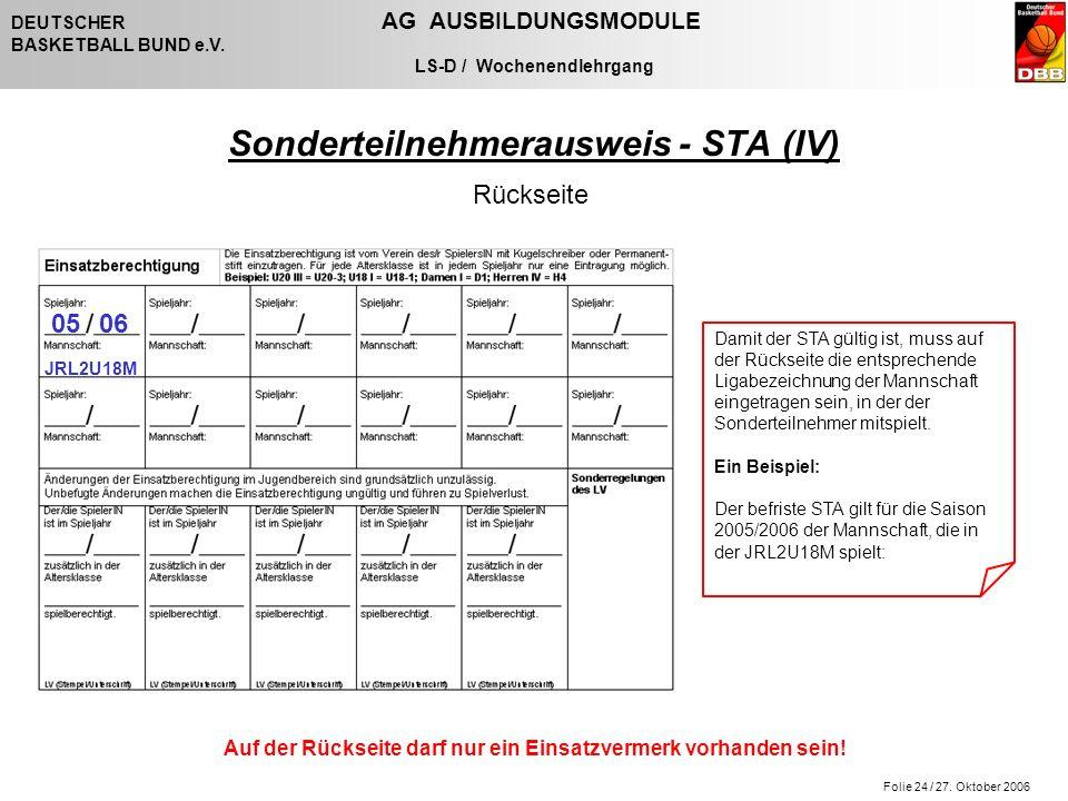 Folie 24 / 27. Oktober 2006 DEUTSCHER AG AUSBILDUNGSMODULE BASKETBALL BUND e.V.