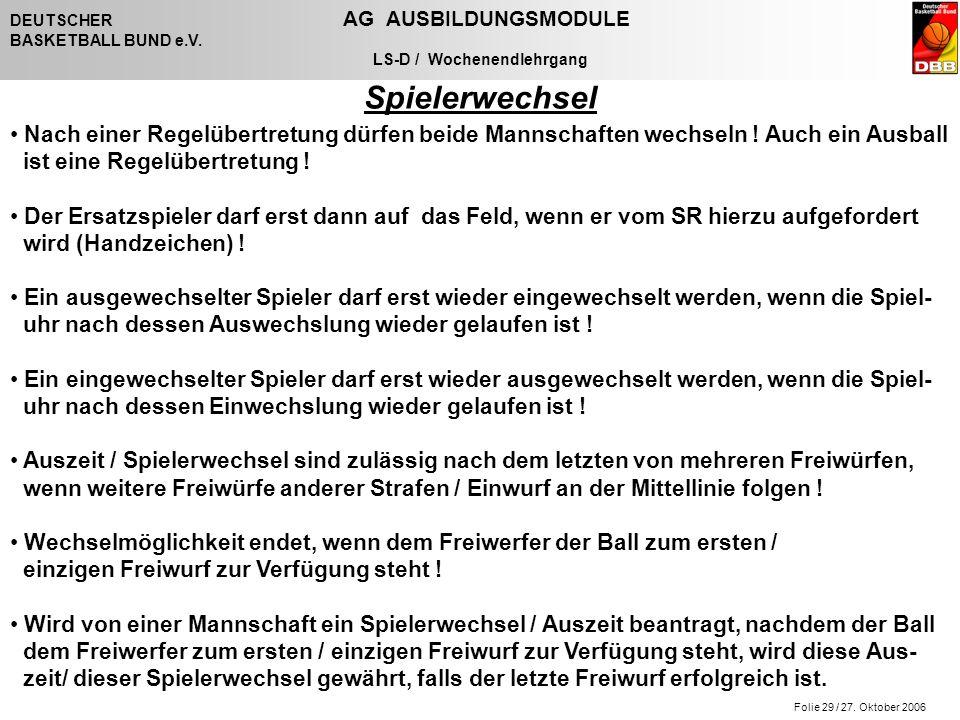 Folie 29 / 27. Oktober 2006 DEUTSCHER AG AUSBILDUNGSMODULE BASKETBALL BUND e.V. LS-D / Wochenendlehrgang Spielerwechsel Nach einer Regelübertretung dü