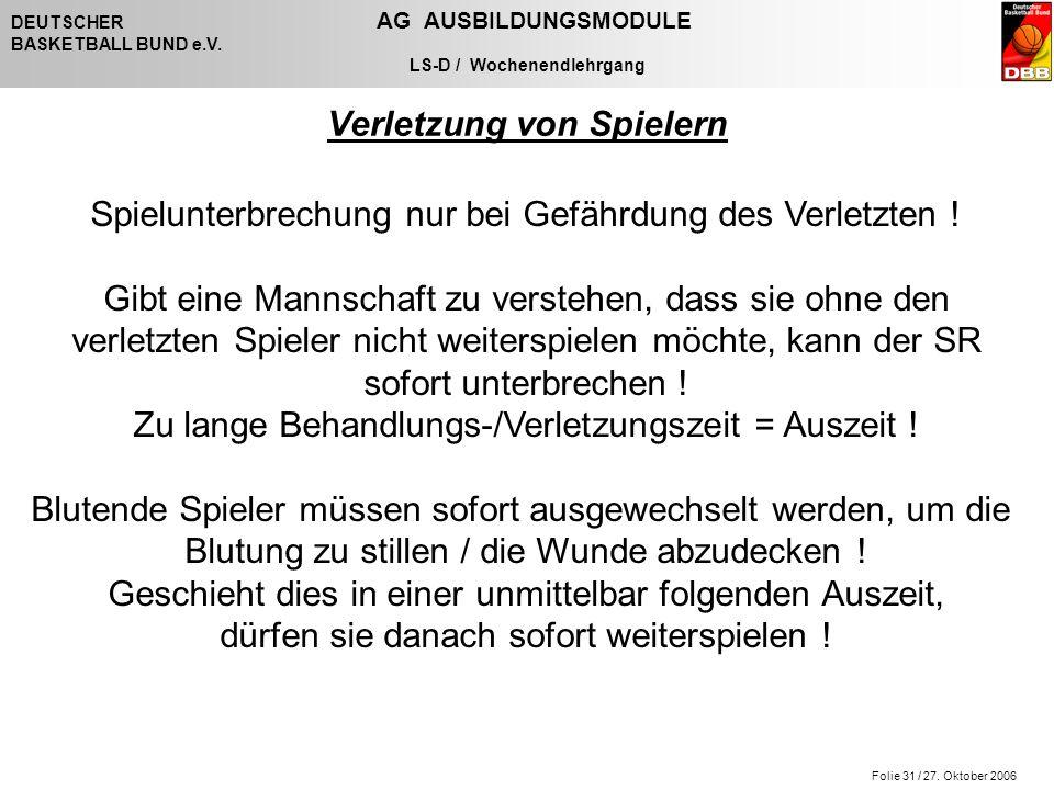 Folie 31 / 27. Oktober 2006 DEUTSCHER AG AUSBILDUNGSMODULE BASKETBALL BUND e.V.