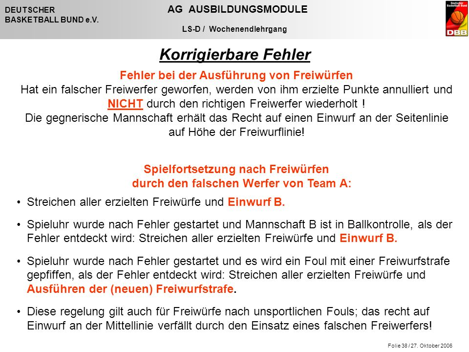 Folie 38 / 27. Oktober 2006 DEUTSCHER AG AUSBILDUNGSMODULE BASKETBALL BUND e.V.