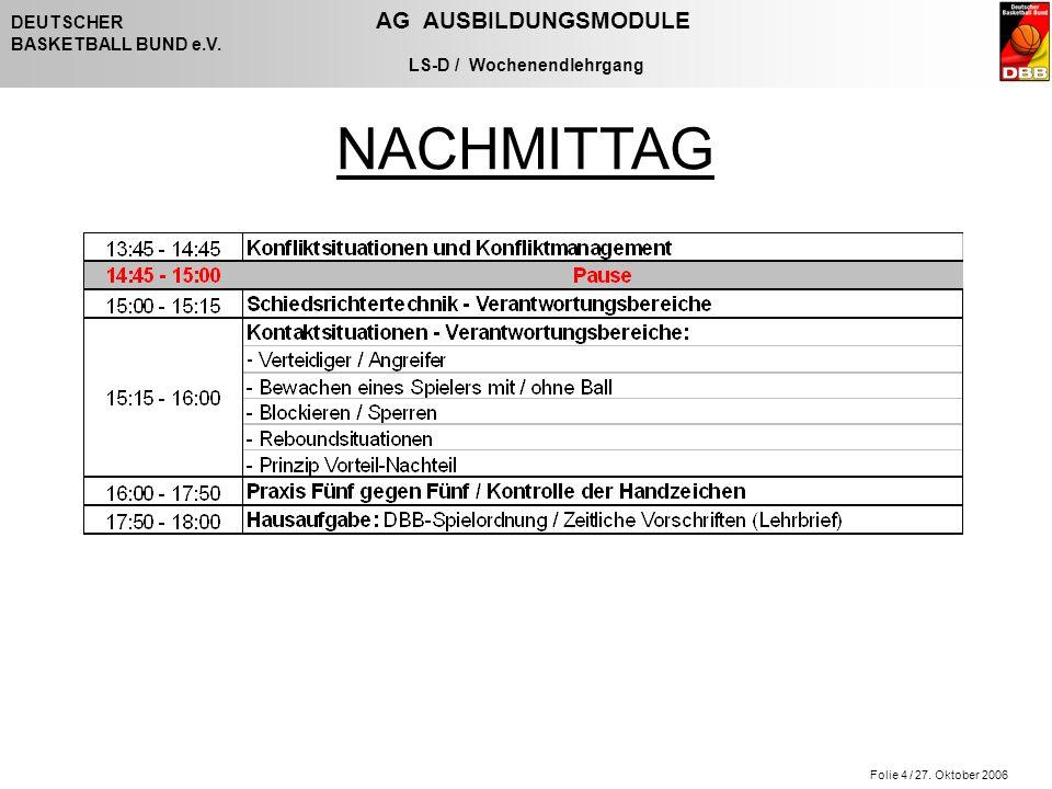Folie 4 / 27. Oktober 2006 DEUTSCHER AG AUSBILDUNGSMODULE BASKETBALL BUND e.V. LS-D / Wochenendlehrgang NACHMITTAG