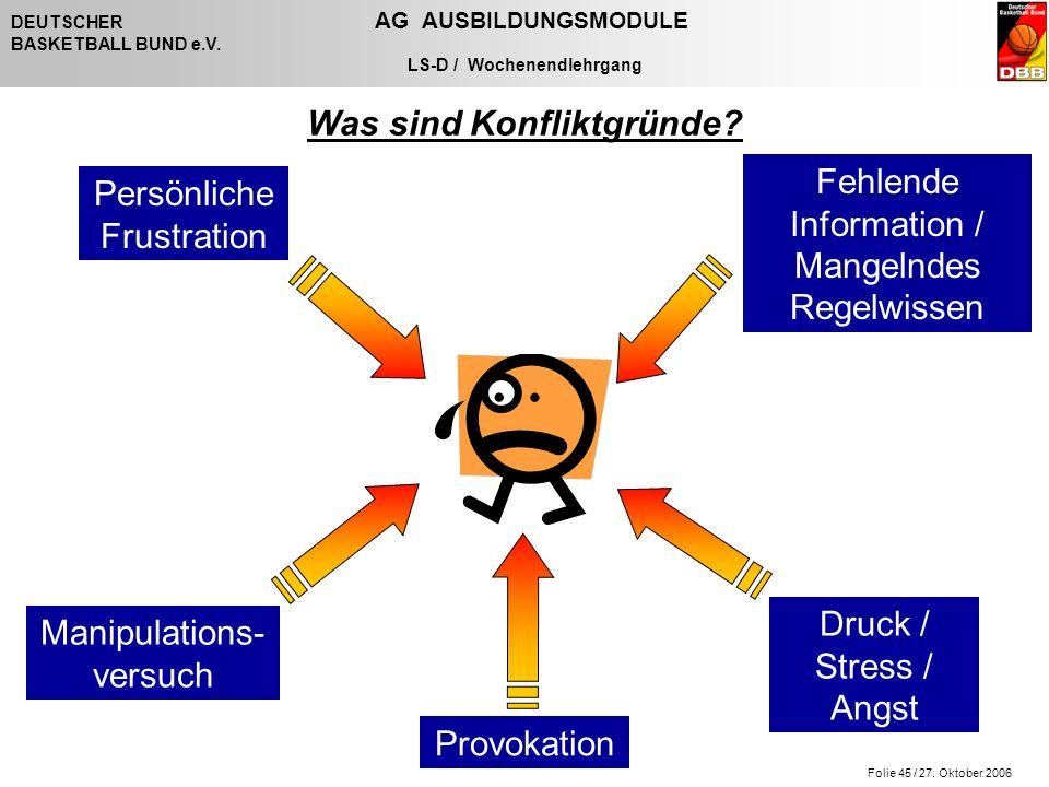 Folie 45 / 27. Oktober 2006 DEUTSCHER AG AUSBILDUNGSMODULE BASKETBALL BUND e.V.