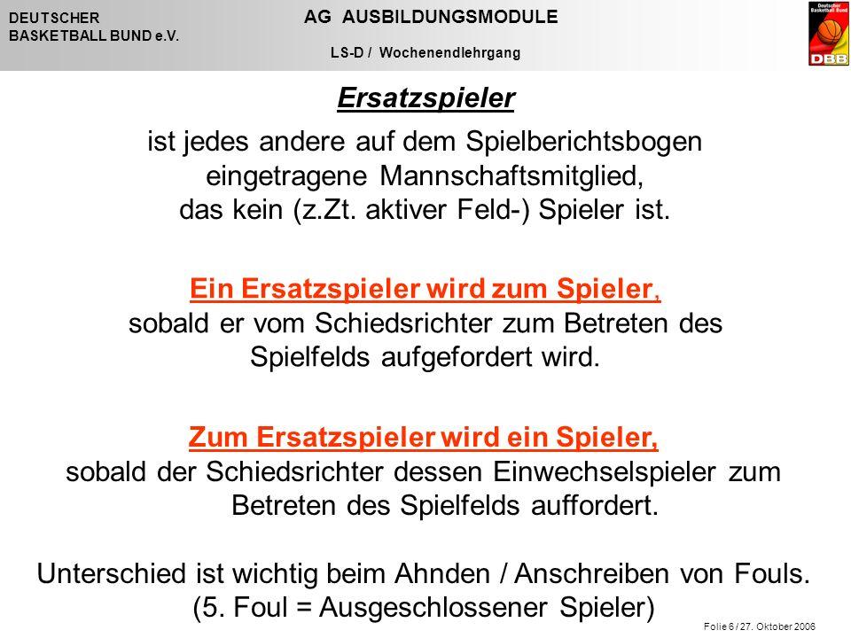Folie 6 / 27. Oktober 2006 DEUTSCHER AG AUSBILDUNGSMODULE BASKETBALL BUND e.V. LS-D / Wochenendlehrgang Ersatzspieler ist jedes andere auf dem Spielbe