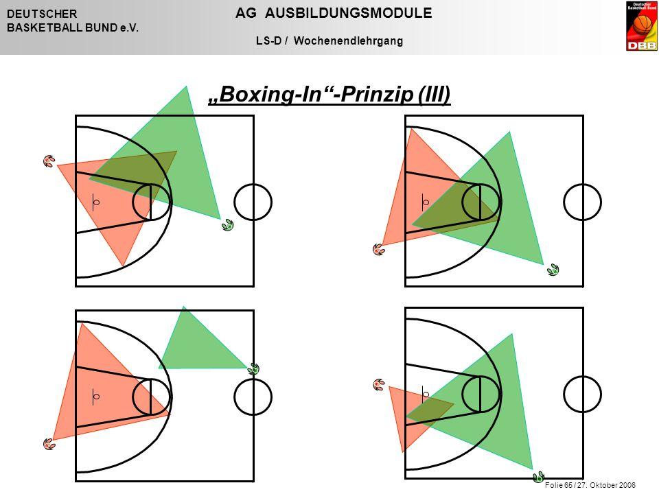 """Folie 65 / 27. Oktober 2006 DEUTSCHER AG AUSBILDUNGSMODULE BASKETBALL BUND e.V. LS-D / Wochenendlehrgang """"Boxing-In""""-Prinzip (III)"""
