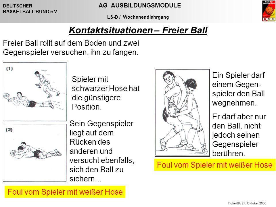 Folie 69 / 27. Oktober 2006 DEUTSCHER AG AUSBILDUNGSMODULE BASKETBALL BUND e.V. LS-D / Wochenendlehrgang Kontaktsituationen – Freier Ball Ein Spieler