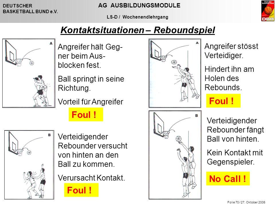 Folie 70 / 27. Oktober 2006 DEUTSCHER AG AUSBILDUNGSMODULE BASKETBALL BUND e.V. LS-D / Wochenendlehrgang Kontaktsituationen – Reboundspiel Angreifer h