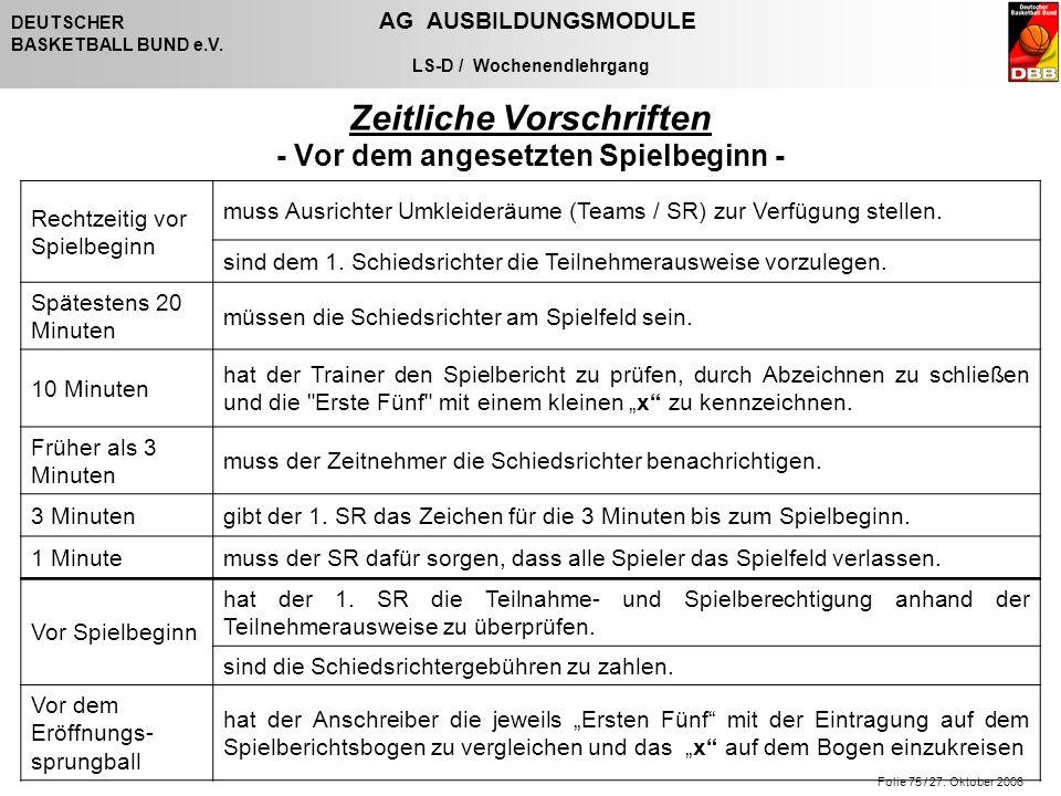 Folie 75 / 27. Oktober 2006 DEUTSCHER AG AUSBILDUNGSMODULE BASKETBALL BUND e.V. LS-D / Wochenendlehrgang Zeitliche Vorschriften - Vor dem angesetzten