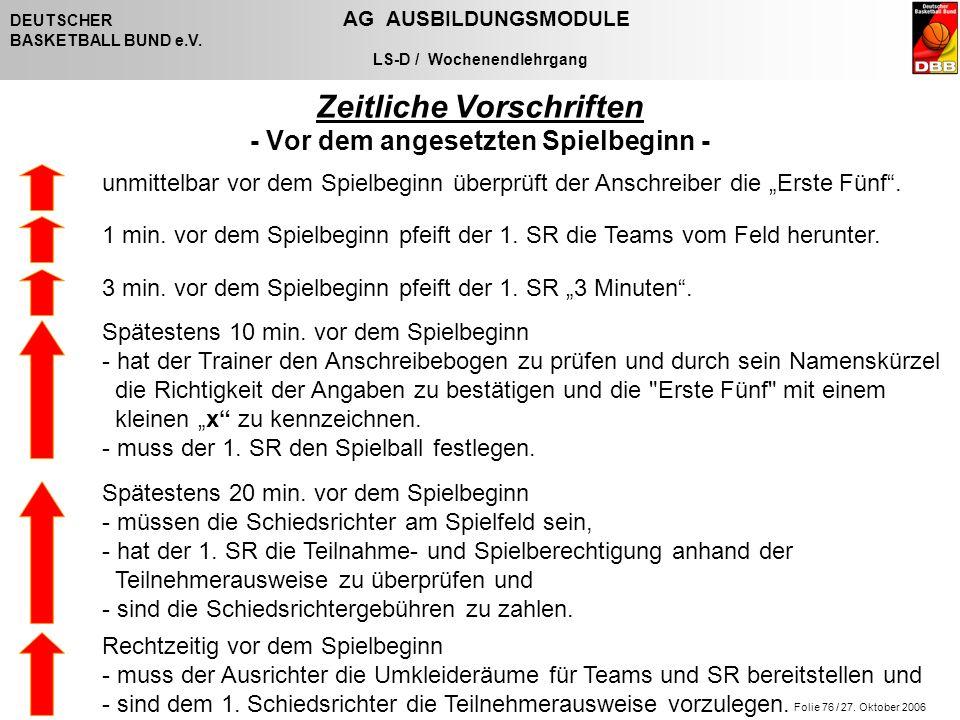 Folie 76 / 27. Oktober 2006 DEUTSCHER AG AUSBILDUNGSMODULE BASKETBALL BUND e.V. LS-D / Wochenendlehrgang Zeitliche Vorschriften - Vor dem angesetzten