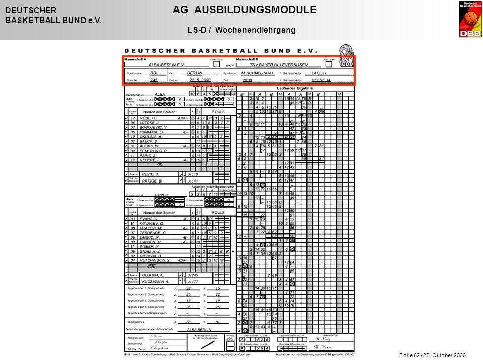 Folie 82 / 27. Oktober 2006 DEUTSCHER AG AUSBILDUNGSMODULE BASKETBALL BUND e.V. LS-D / Wochenendlehrgang - - - -                   