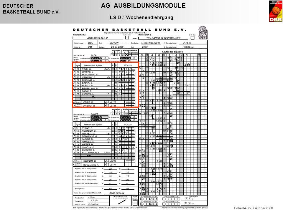 Folie 84 / 27. Oktober 2006 DEUTSCHER AG AUSBILDUNGSMODULE BASKETBALL BUND e.V. LS-D / Wochenendlehrgang - - - -                   