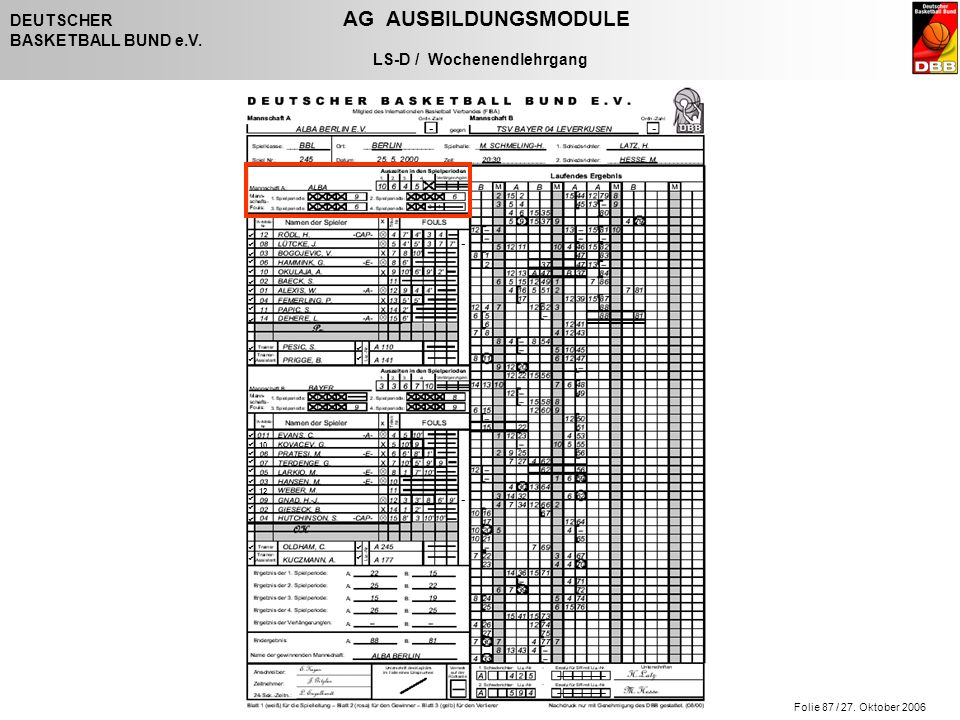 Folie 87 / 27. Oktober 2006 DEUTSCHER AG AUSBILDUNGSMODULE BASKETBALL BUND e.V. LS-D / Wochenendlehrgang - - - -                   