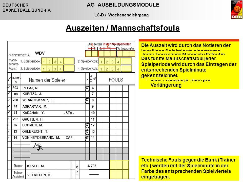 Folie 88 / 27. Oktober 2006 DEUTSCHER AG AUSBILDUNGSMODULE BASKETBALL BUND e.V. LS-D / Wochenendlehrgang Alle Auszeiten / Fouls werden mit der Farbe d