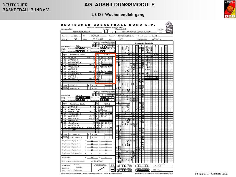 Folie 89 / 27. Oktober 2006 DEUTSCHER AG AUSBILDUNGSMODULE BASKETBALL BUND e.V. LS-D / Wochenendlehrgang - - - -                   